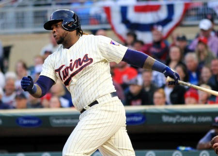 Minnesota Twins third baseman Miguel Sano singles against the Detroit Tigers (Getty Images)