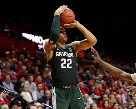 Michigan State Spartans' Miles Bridges takes a shot against the Rutgers Scarlet Knights (Getty Images)