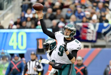 Philadelphia Eagles quarterback Nick Foles makes a pass attempt against the New York Giants (Getty Images)
