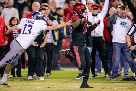 San Diego State Aztecs running back Rashaad Penny is seen here scoring a touchdown against the Nevada Wolf Pack (Getty Images)