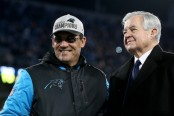 Carolina Panthers head coach Ron Rivera and embattled Panthers owner Jerry Richardson (Getty Images)
