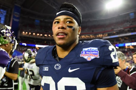 Former Penn State Nittany Lions running back Saquon Barkley is seen here in his final collegiate game against the Washington Huskies following the game after a win in the PlayStation Fiesta Bowl on Saturday (Getty Images)