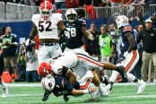 Bulldogs defensive player sacks Auburn's quarterback Jarrett Stidham (Photo by Dennis Morton Jr./Action Sports and News)