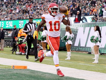 Kansas City Chiefs wide receiver Tyreek Hill in the end zone following a touchdown against the New York Jets (Getty Images)