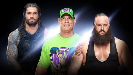 Roman Reigns, John Cena, and Braun Strowman (Photo by the WWE)