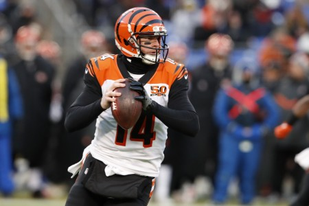 Cincinnati Bengals quarterback Andy Dalton getting ready to pass the ball against the Baltimore Ravens (Getty Images)