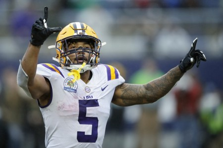 LSU Tigers running back Derrius Guice celebrates the Citrus Bowl win (Getty Images)