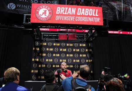 Alabama Crimson Tide offensive coordinator Brian Daboll talking to the media before the College Football Playoff National Championship game (Getty Images)