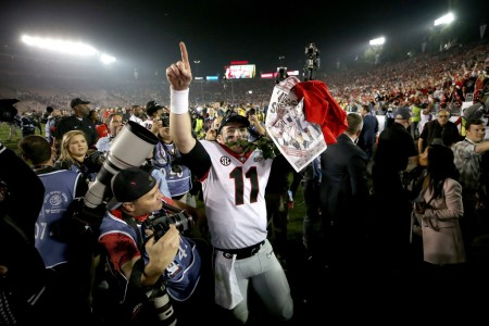 Georgia Bulldogs quarterback Jake Fromm celebrates the Rose Bowl win (Getty Images)