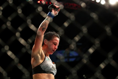 Jessica-Rose Clark raising her hand in victory after her win over Bec Rawlings in Sydney Australia in November 2017 (Getty Images)