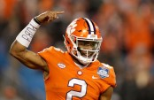 Clemson Tigers quarterback Kelly Bryant celebrates a touchdown against the Miami (Florida) Hurricanes in the Atlantic Coast Conference Championship game (Getty Images)