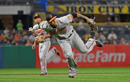 Manny Machado is seen here as the Baltimore Orioles third baseman (Getty Images)