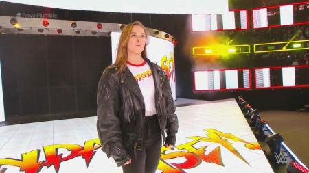 Ronda Rousey at the WWE Royal Rumble (Photo by the WWE)