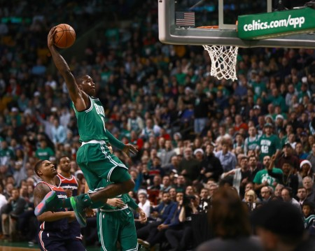 Boston Celtics point guard Terry Rozier dunking against the Washington Wizards (Getty Images)