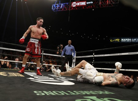 Danny Garcia is seen here knocking out Brandon Rios (Getty Images)