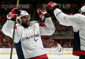 Washington Capitals player Devante Smith-Pelly celebrates scoring a goal against the Carolina Hurricanes (Getty Images)