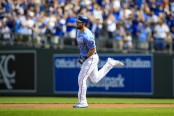 Eric Hosmer is seen here running the bases as a member of the Kansas City Royals (Getty Images)