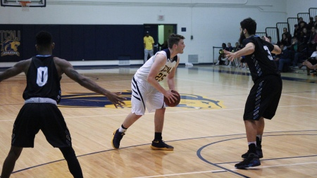 Elias Bermudez is seen here playing against a team earlier this season. Bermudez was one of three seniors, who may have played their final game for the Lions (Photo by Jon Lambert/TCNJ Sports Information Department)