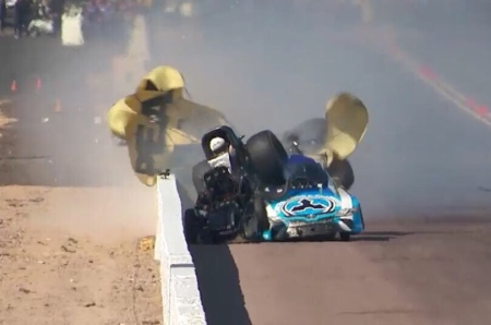 John Force crashes into Jonnie Lindberg (Photo by Nitro Notes)