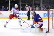 Rick Nash is seen here as a member of the New York Rangers attempts to score a goal on New York Islanders goalie Jaroslav Halák (Getty Images)