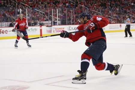 Washington Capitals left winger Alex Ovechkin playing against the Winnipeg Jets