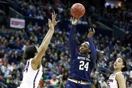 Notre Dame Fighting Irish's Arike Ogunbowale attempting a shot against the UCONN Huskies (Getty Images)