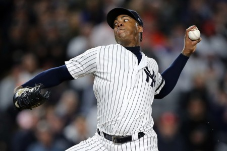 Aroldis Chapman is seen here pitching as a member of the New York Yankees (Getty Images)