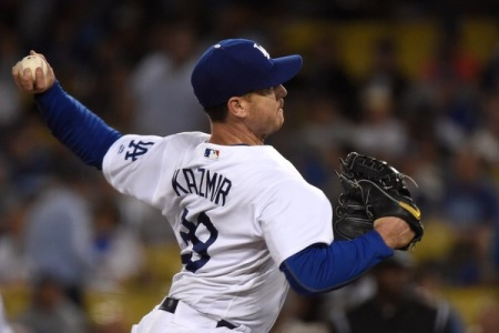 Scott Kazmir is seen here pitching for the Dodgers (Getty Images)