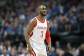 Chris Paul is seen here as the Houston Rockets were playing the Dallas Mavericks at the American Airlines Center in Dallas, Texas (Getty Images)