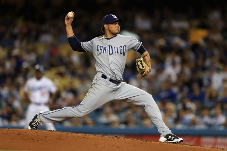 Dinelson Lamet is seen here as a member of the San Diego Padres pitching against the Los Angeles Dodgers at Dodger Stadium in Sept. 2017 (Getty Images)
