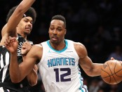 Charlotte Hornets center Dwight Howard is seen here posting up Nets player Jarrett Allen (Getty Images)
