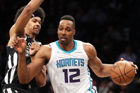 Charlotte Hornets center Dwight Howard is seen here posting up Nets player Jarrett Allen (Getty Images)