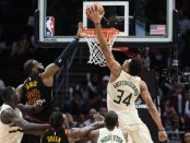 Giannis Antetokounmpo is seen here dunking over Cleveland Cavaliers superstar LeBron James (Getty Images)