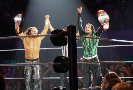 Jeff Hardy is seen here with his brother Matt Hardy as the Raw Tag Team Champions (Photo by the Internet)