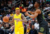 Isaiah Thomas is seen here as a member of the Los Angeles Lakers playing against the Atlanta Hawks (Getty Images)