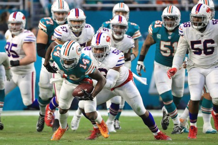 Miami Dolphins wide receiver Jarvis Landry makes a catch against the Buffalo Bills