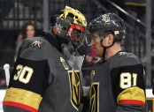 Jonathan Marchessault celebrates on the ice with goaltender Malcolm Subban after the Vegas Golden Knights 4-1 win over the Vancouver Canucks (Getty Images)