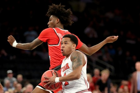 Utah Utes player Justin Bibbins is seen here going to the basket against the Western Kentucky Hilltoppers (Getty Images)