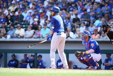 Justin Turner is seen here getting ready to hit against the Chicago Cubs in a spring training game (Getty Images)