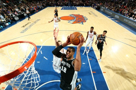LaMarcus Aldridge is seen here attempting a dunk against the New York Knicks (Getty Images)