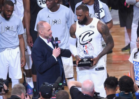 LeBron James is seen here receiving the NBA All-Star Game MVP Award in Los Angeles, Calif. In Feb. (Getty Images)