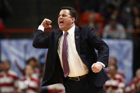 Sean Miller is seen here as the Arizona Wildcats head coach reacting to a second half call against the Buffalo Bulls (Getty Images)