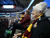 Sister Jean is seen here watching the first-round of the NCAA Division I Men's Basketball Championship against the Miami Hurricanes (Getty Images)