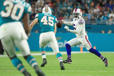 Tyrod Taylor is seen here as a member of the Buffalo Bills attempting to throw a pass against the Miami Dolphins (Getty Images)