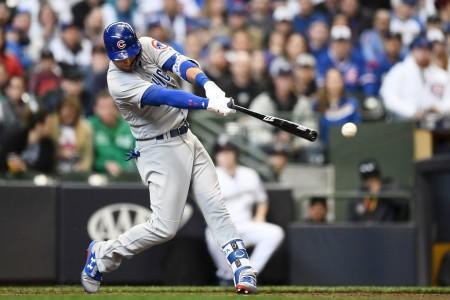 Albert Almora Jr. is seen here batting (Getty Images)