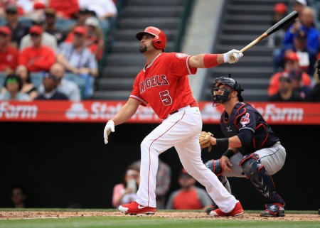 Albert Pujols is seen here batting against the Cleveland Indians (Getty Images)