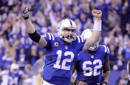 Colts quarterback Andrew Luck celebrates a score against the Jacksonville Jaguars (Getty Images)