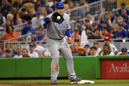 Anthony Rizzo is seen here catching the ball (Getty Images)