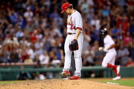 Trevor Rosenthal is seen here with the St. Louis Cardinals after giving up a home run (Getty Images)