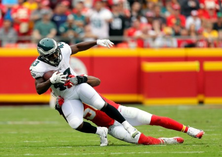 Eagles running back Darren Sproles is seen here being tackles by a Kansas City Chiefs player in Week 2 (Getty Images)